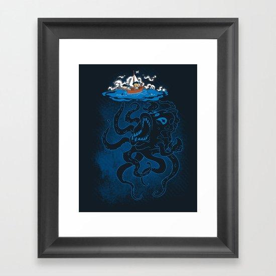 Here There Be Monster Framed Art Print