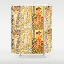 "Alphonse Mucha ""The Flowers (series): Iris, Lily, Carnation, Rose"" Shower Curtain"
