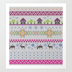 Winter Knitting Art Print