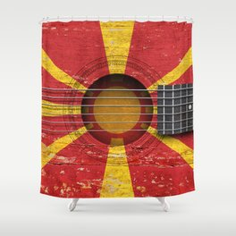 Old Vintage Acoustic Guitar with Macedonian Flag Shower Curtain