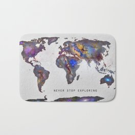 """Star map. Never stop exploring...II"". World map. Bath Mat"