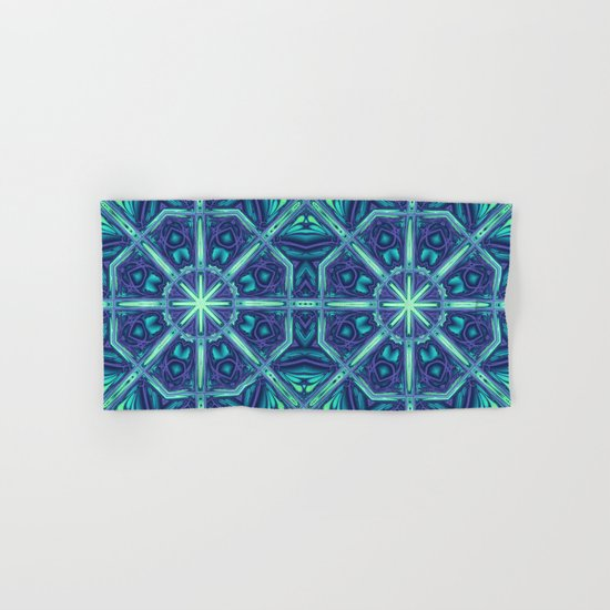 Kaleidoscope abstract in blue, purple and green Hand & Bath Towel