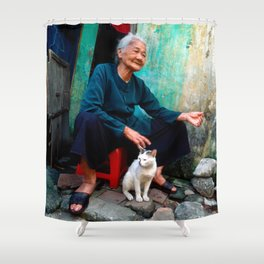 Vietnamese Woman with White Cat Shower Curtain