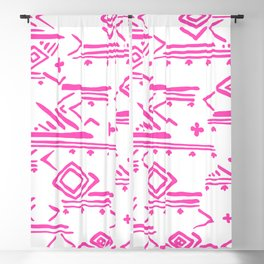 Pink watercolor abstract geometrical aztec tribal pattern Blackout Curtain