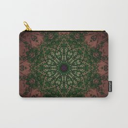 Warm Vintage Detailed Green Mandala Carry-All Pouch