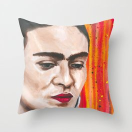 Frida in Colorland Throw Pillow