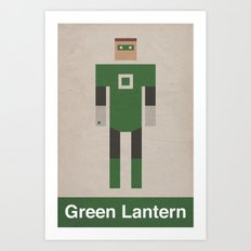 Retro Green Lantern Art Print
