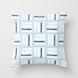 Stripes×Checkered Pattern_Ice blue&Navy Throw Pillow