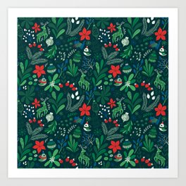 Merry Christmas pattern Art Print
