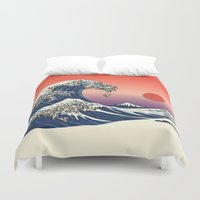pug Duvet Covers featuring The Great Wave of Pug   by Huebucket