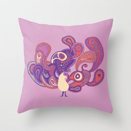 Purple Paisley Peacock Throw Pillow