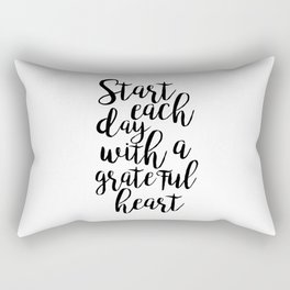 printable poster,start each day with a grateful heart,office wall art,office decor,positive vibes Rectangular Pillow