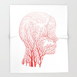 Head Profile Branches - Red Throw Blanket