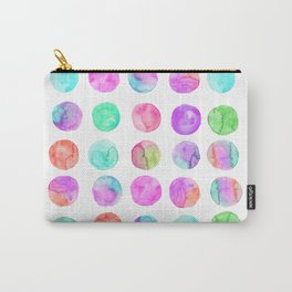 Hand Painted purple pink teal watercolor brushstrokes polka dots Carry-All Pouch