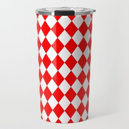 Diamonds (Red/White) Travel Mug