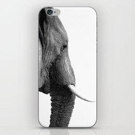Black and white elephant portrait iPhone Skin