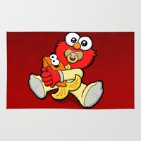 elmo Area & Throw Rugs featuring Baby Elmo & Dorothy by BinaryGod.com