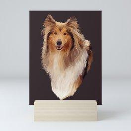 Rough Coated Sable White Collie Dog Portrait  Mini Art Print