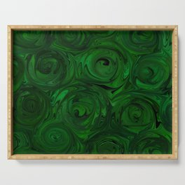 Emerald Green Roses Serving Tray