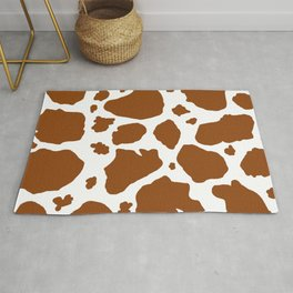 cocoa milk chocolate brown and white cow spots animal print Rug