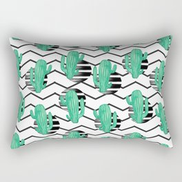 cacti + black Rectangular Pillow