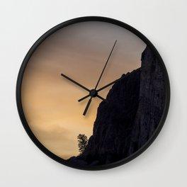 Pine Tree Sunset // Cliffside Lone Tree Wall Clock