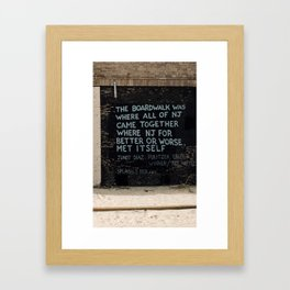 Jersey Shore Boardwalk / Junot Diaz Quote Framed Art Print