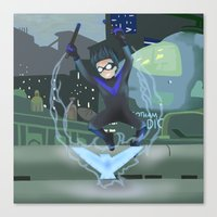 nightwing Canvas Prints featuring Nightwing by .:tinkerpunk:.