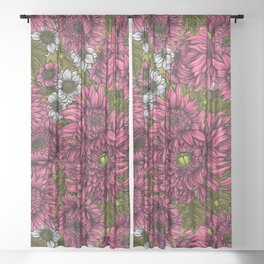 Pink and white chrysanthemum flowers and green bettles Sheer Curtain