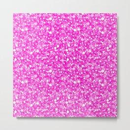 Hot Pink Glitter Texture Print Metal Print