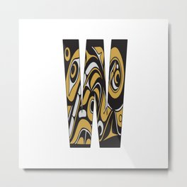 Northwest Pacific Coast American Native Totem Letter W Metal Print