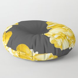 Yellow Flowers On A Dark Background #decor #society #homedecor Floor Pillow