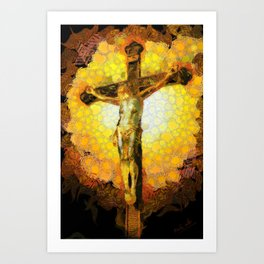 Jesus on the cross in the Impressionist style Art Print