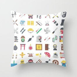 CUTE NINJA PATTERN Throw Pillow