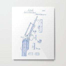Firearm Vintage Patent Hand Drawing Metal Print