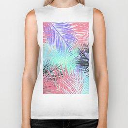 Pastel retro tropical pink blue black watercolor palm tree leaves summer pattern Biker Tank