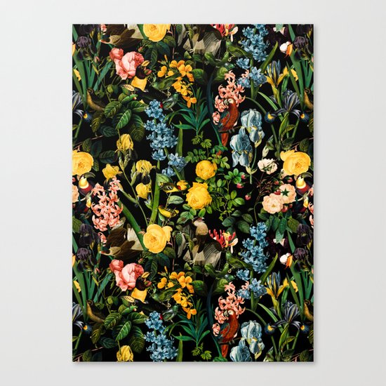 FLORAL AND BIRDS V Canvas Print