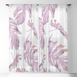 Monstera Pattern Pink #society6 #buyart Sheer Curtain