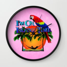 Pink Island Time And Parrot Wall Clock