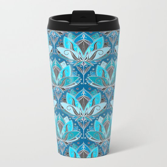 Art Deco Lotus Rising - black, teal & turquoise pattern Metal Travel Mug