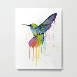Hummingbird Rainbow Watercolor Metal Print