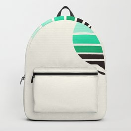 Teal Turquoise Minimalist Mid Century Modern Watercolor Stripes Sunset Circle Abstract Pattern Backpack