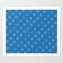 Dancing Snowflakes Blue Background Art Print