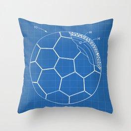 Soccer Patent - Football Art - Blueprint Throw Pillow