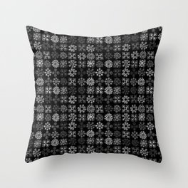 Gray flowers Throw Pillow