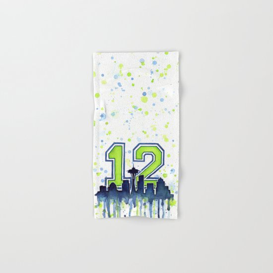 Hawks 12th Man Fan Art Seattle Space Needle Hand & Bath Towel