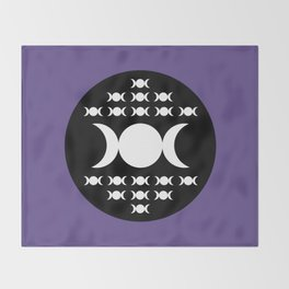 Triple Moon Goddess - White, Black and Ultra Violet Throw Blanket