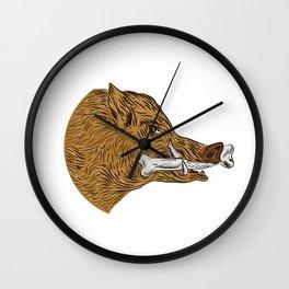 Wild Boar Razorback Bone In Mouth Drawing Wall Clock