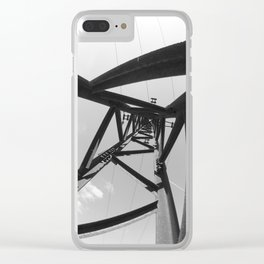 Power pole black and white Clear iPhone Case