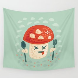 Funny Cartoon Poisoned Mushroom Wall Tapestry